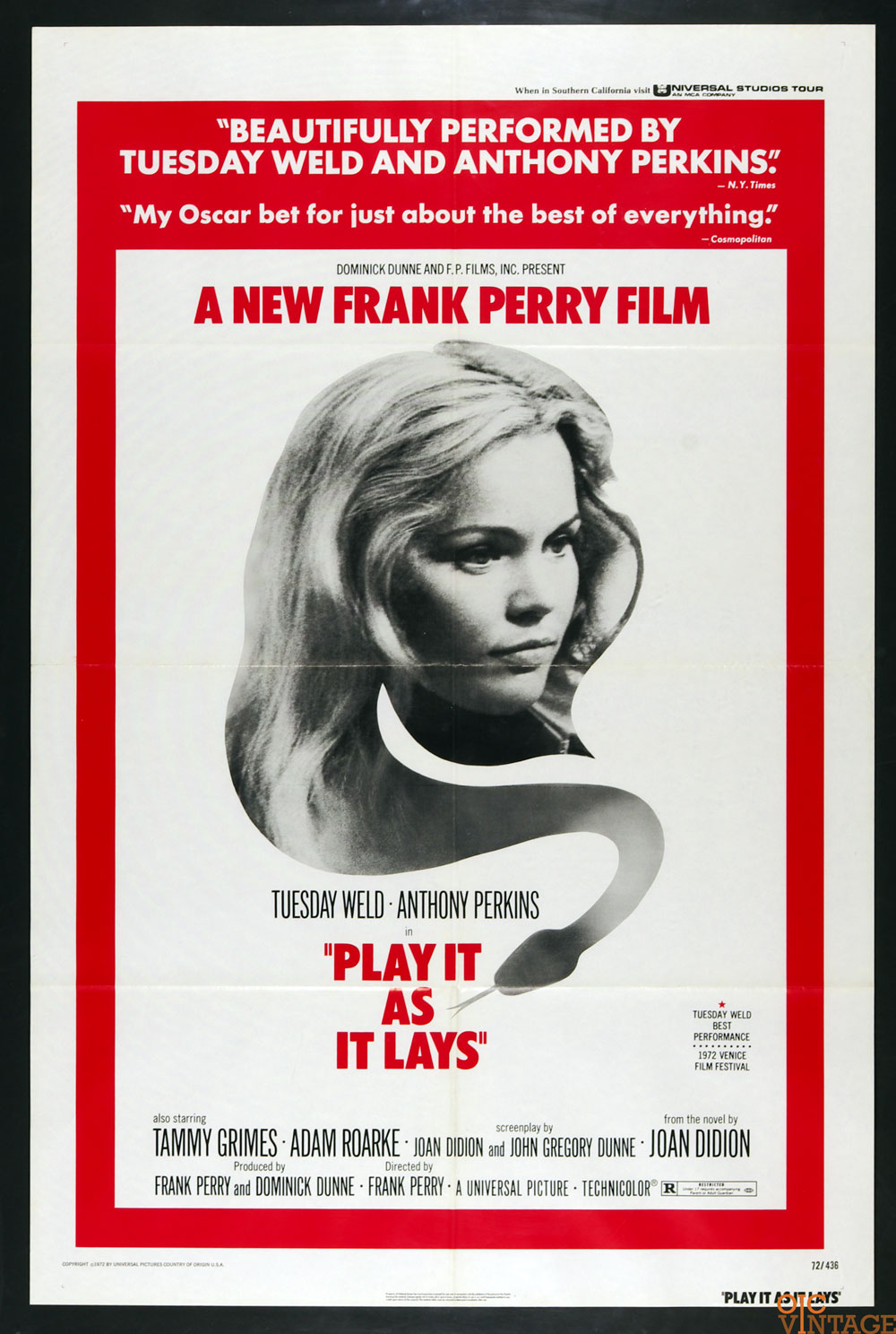 Play It as It Lays Movie Poster 1972 Tuesday Weld Anthony Perkins 27 x 41 1 sheet