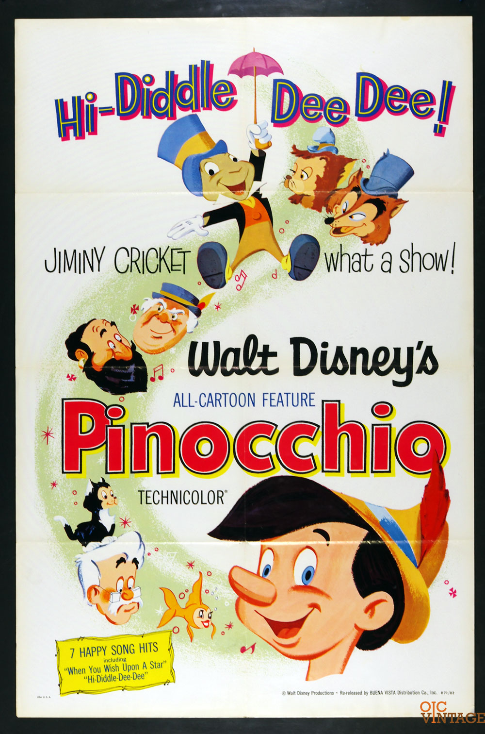 Pinocchio Movie Poster R1971 26 x 39 1 Sheet
