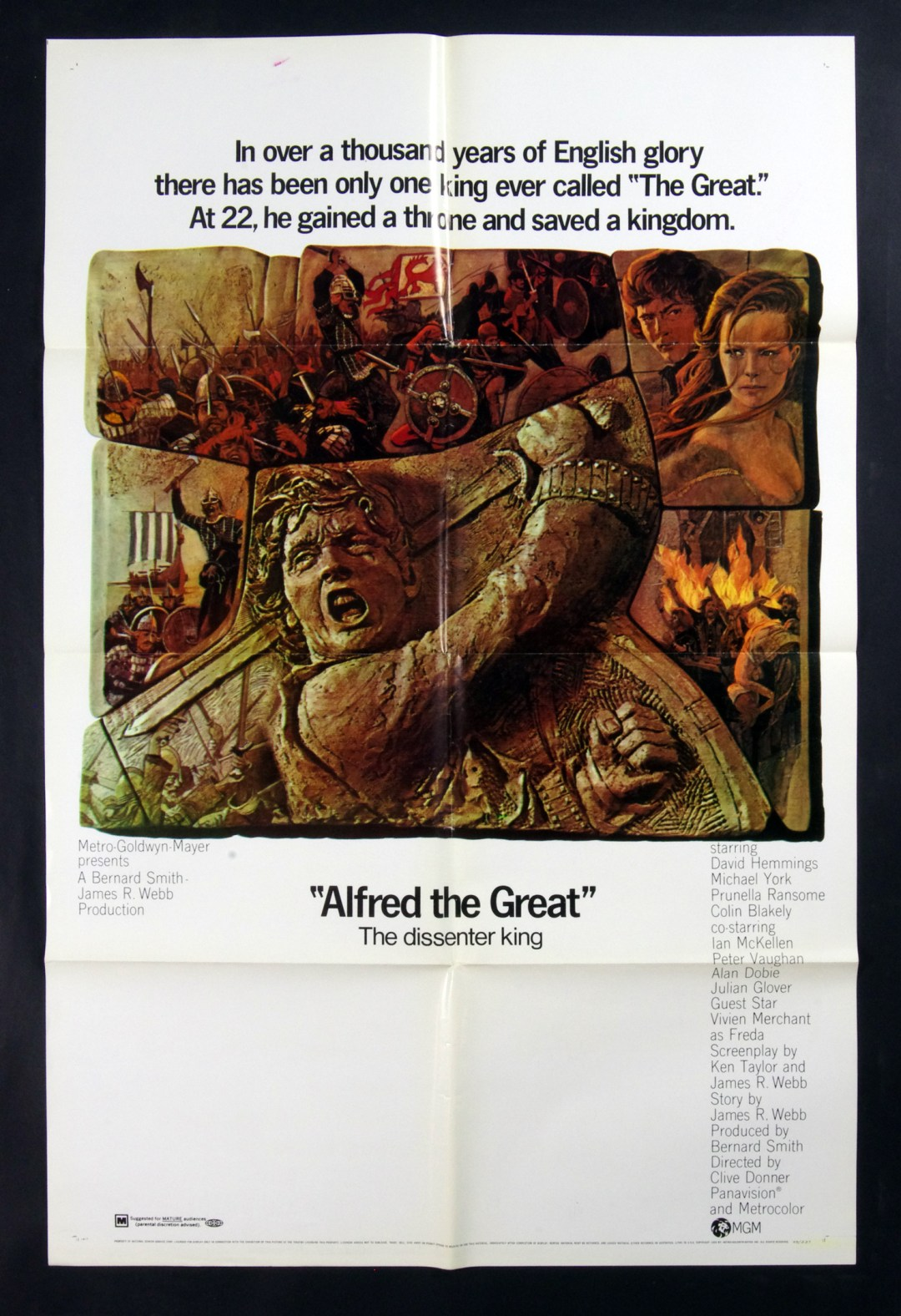 Alfred the Great Movie Poster David Hammings Michael York 1969 27x41 1 Sheet