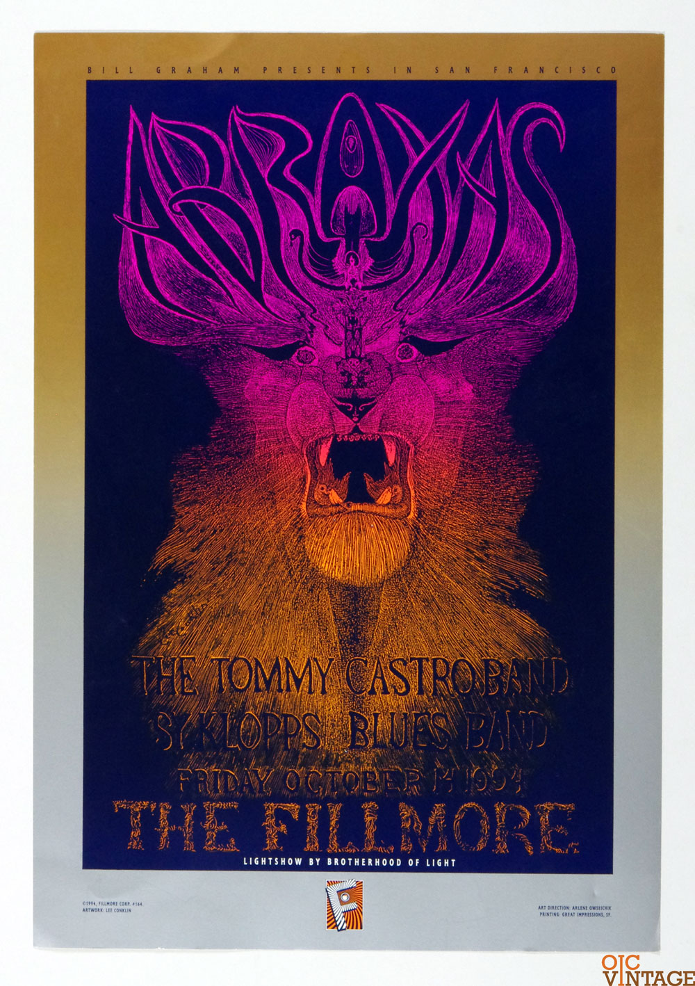 ABRAXAS The Tommy Castro Band Poster 1994 Oct 14 New Fillmore