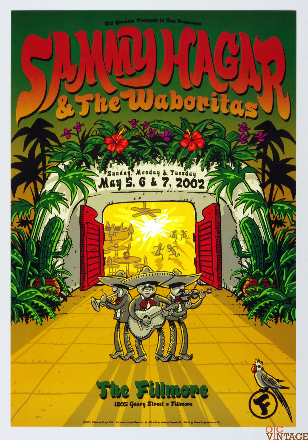 New Fillmore F521 Poster Sammy Hagar 7 the Waboritas 2002 May 5