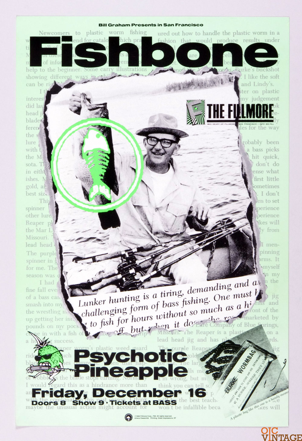 New Fillmore F064 Poster Fishbone Psychotic Pineapple 1988 Dec 16