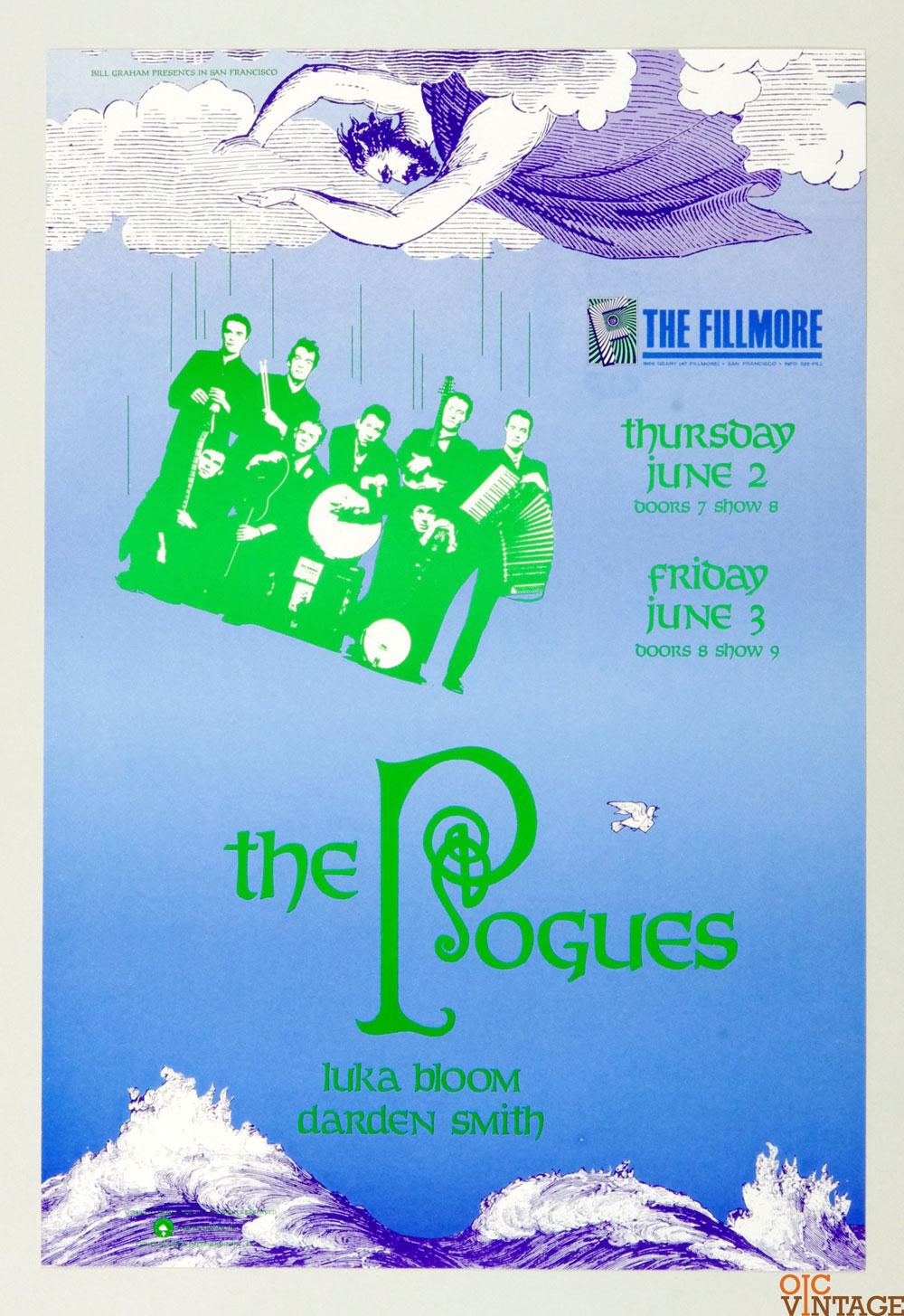 The Pogues Luka Bloom Daren Smith Poster 1988 Jun 3 New Fillmore