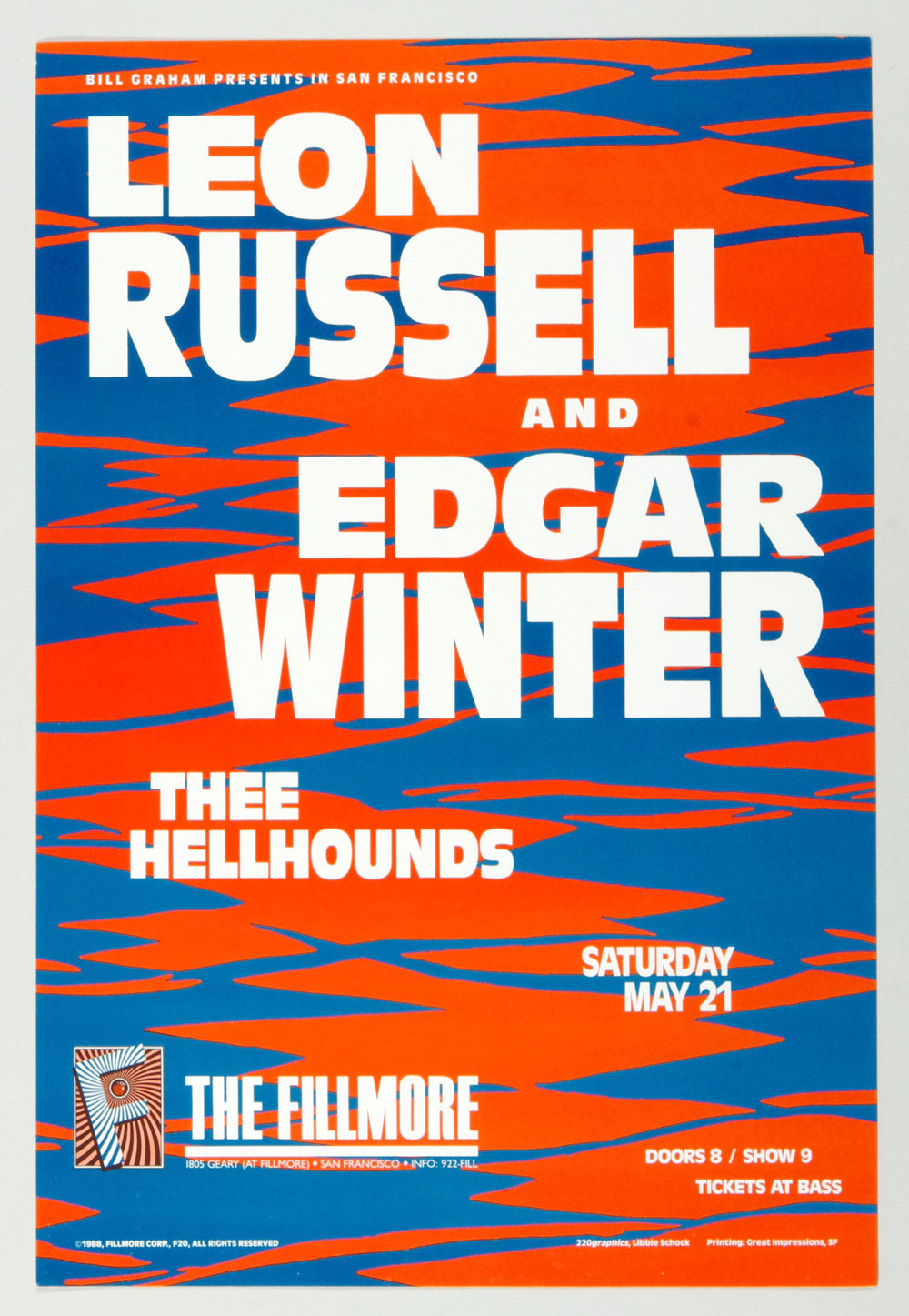 New Fillmore F020 Poster Leon Russell Edgar Winter Thee Hellhounds 1988 May 21