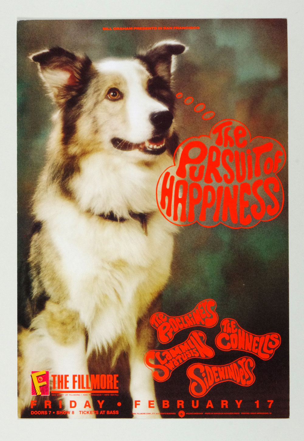 New Fillmore F077 Poster The Pursuit of Happiness Proclaimeys 1989 Feb 17