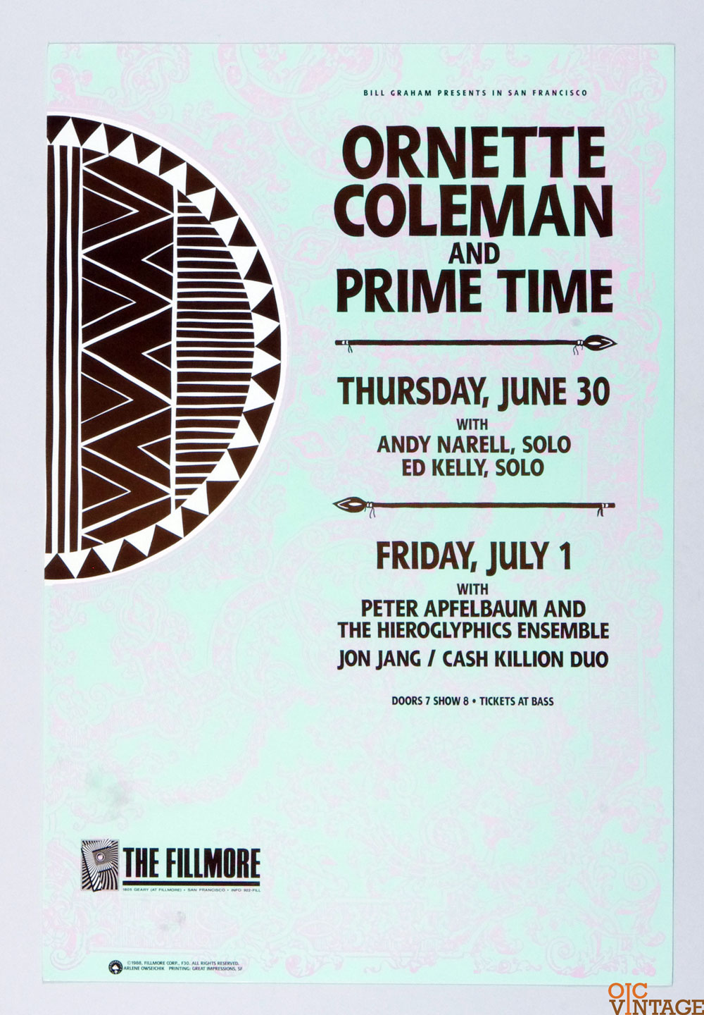 New Fillmore F030 Poster Ornette Coleman and Prime Time 1988 Jun 30