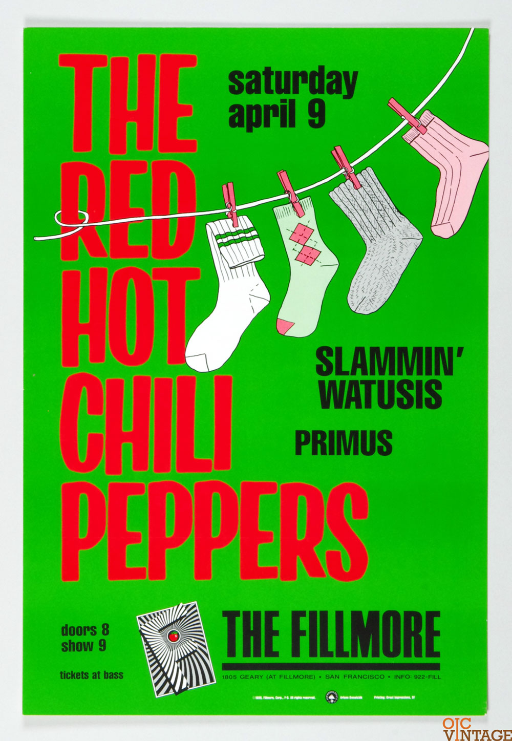 New Fillmore F005 Poster The Red Hot Chili Peppers 1988 Apr 9