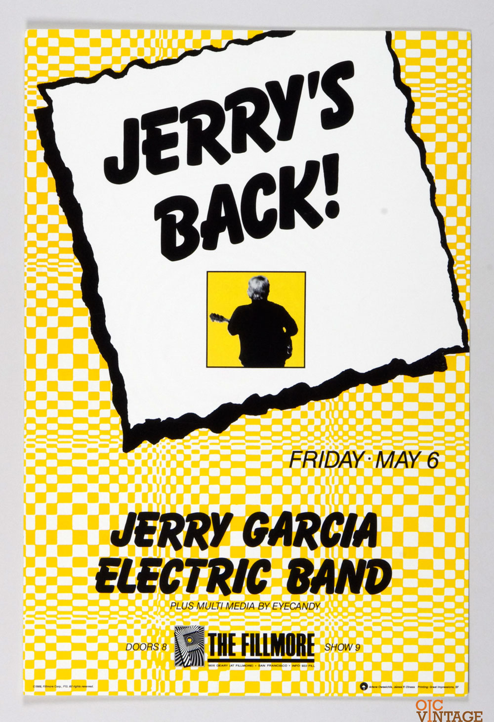 New Fillmore F013 Poster Jerry's Back! Jerry Garcia Electric Band 1988 May 6