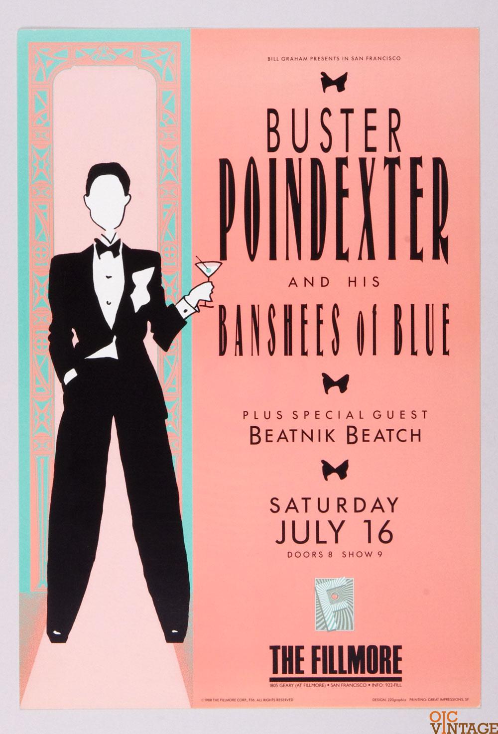 New Fillmore F036 Poster Buster Poindexter Beatnik Beatch 1988 Jul 16