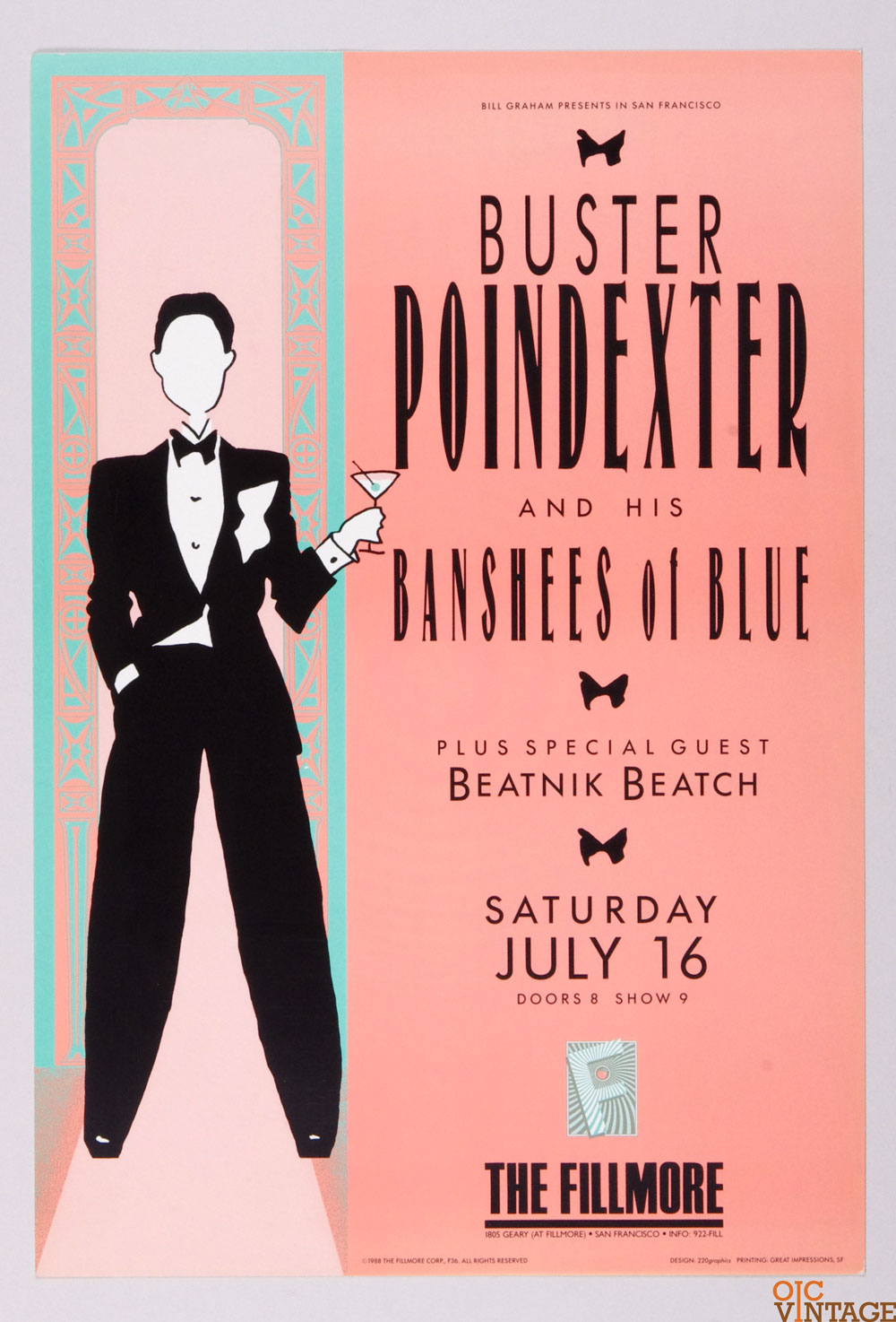 Buster Poindexter Beatnik Beatch Poster 1988 Jul 16 New Fillmore