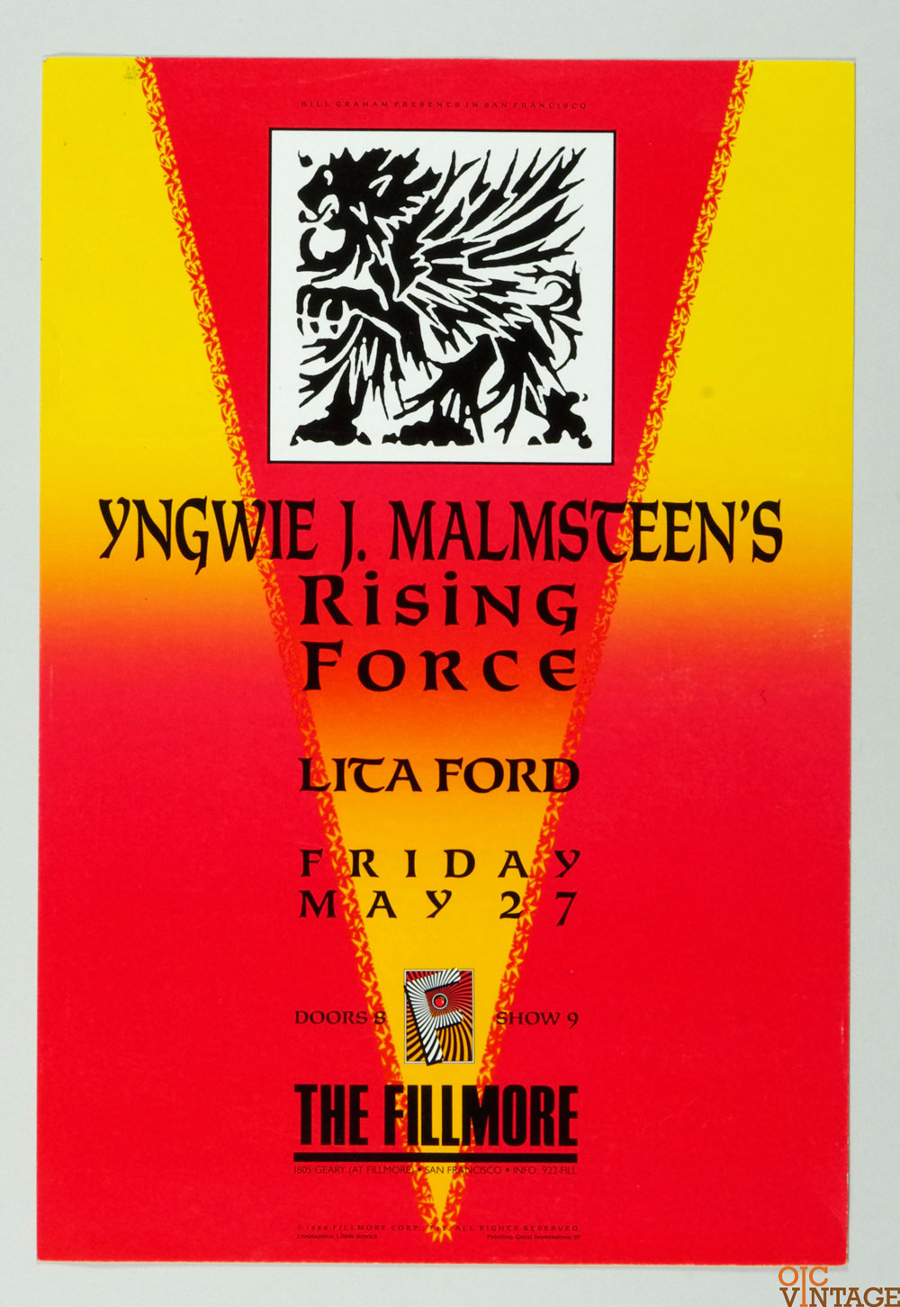 Yngwie J. Malmsteen's Rising Force Poster 1988 May 27 New Fillmore