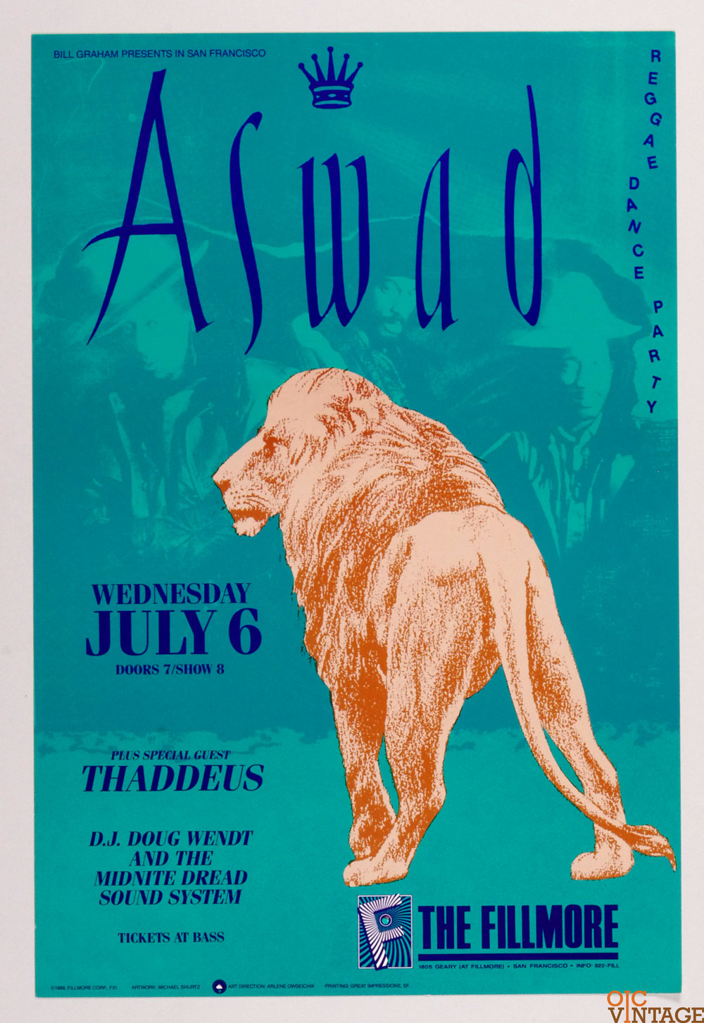 Aswad Poster 1988 Jul 6 New Fillmore