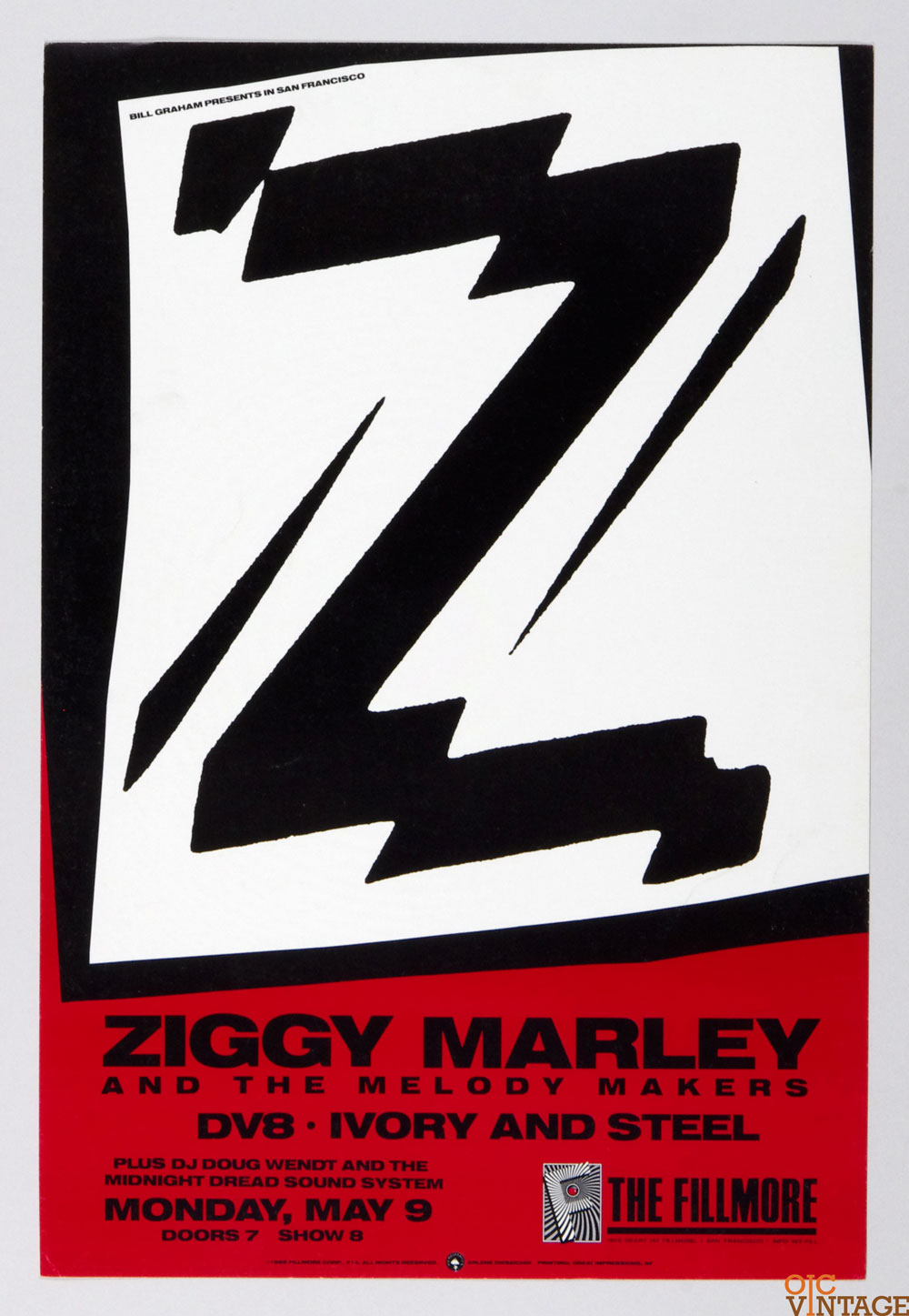 Ziggy Marley DV8 Ivory and Steel Poster 1988 May 9 New Fillmore