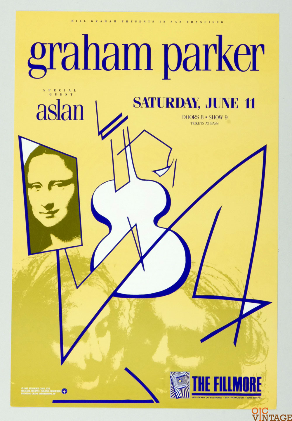 Graham Parker Aslan Poster 1988 Jun 11 New Fillmore