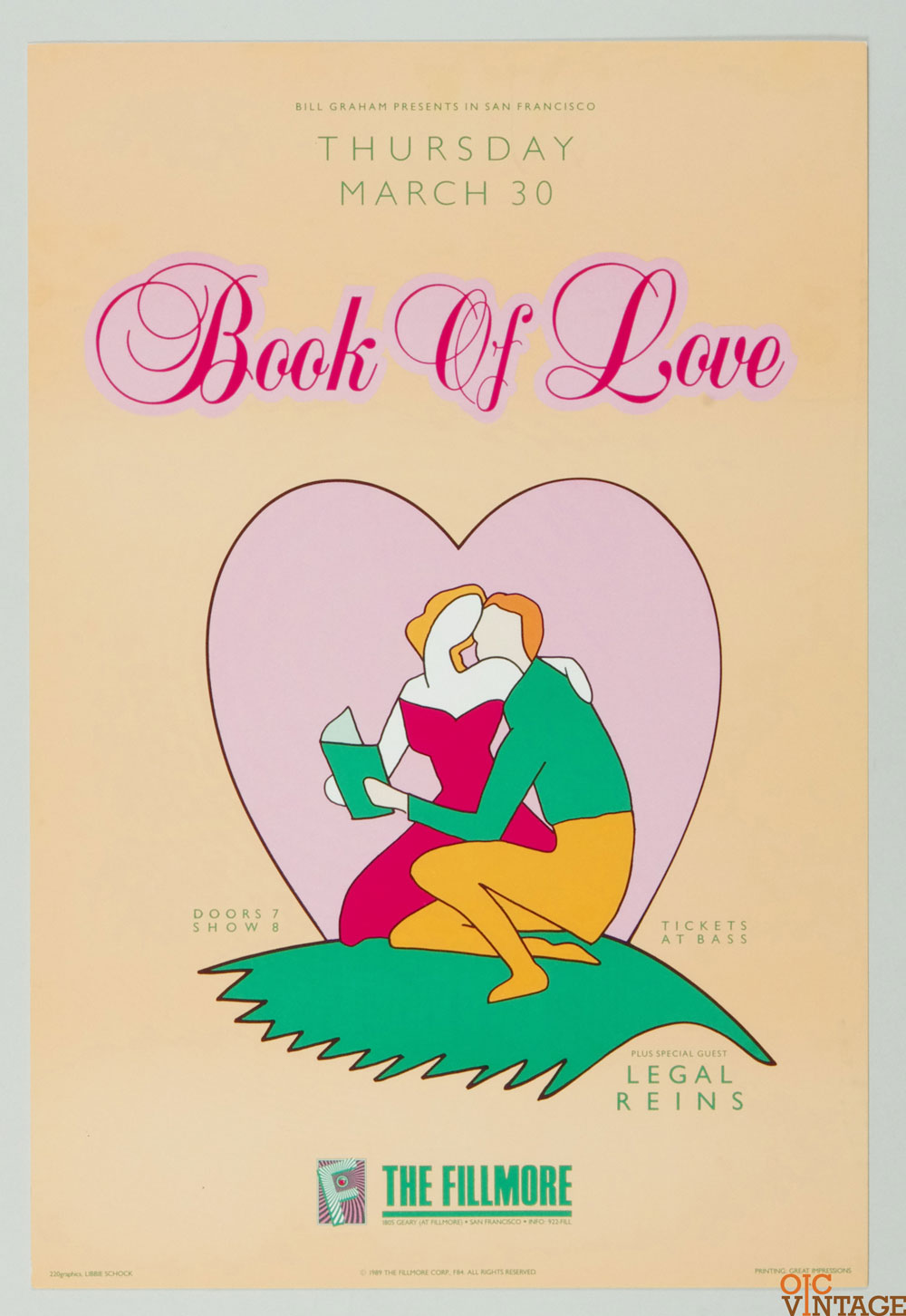 Book of Love Poster 1989 Mar 30 New Fillmore