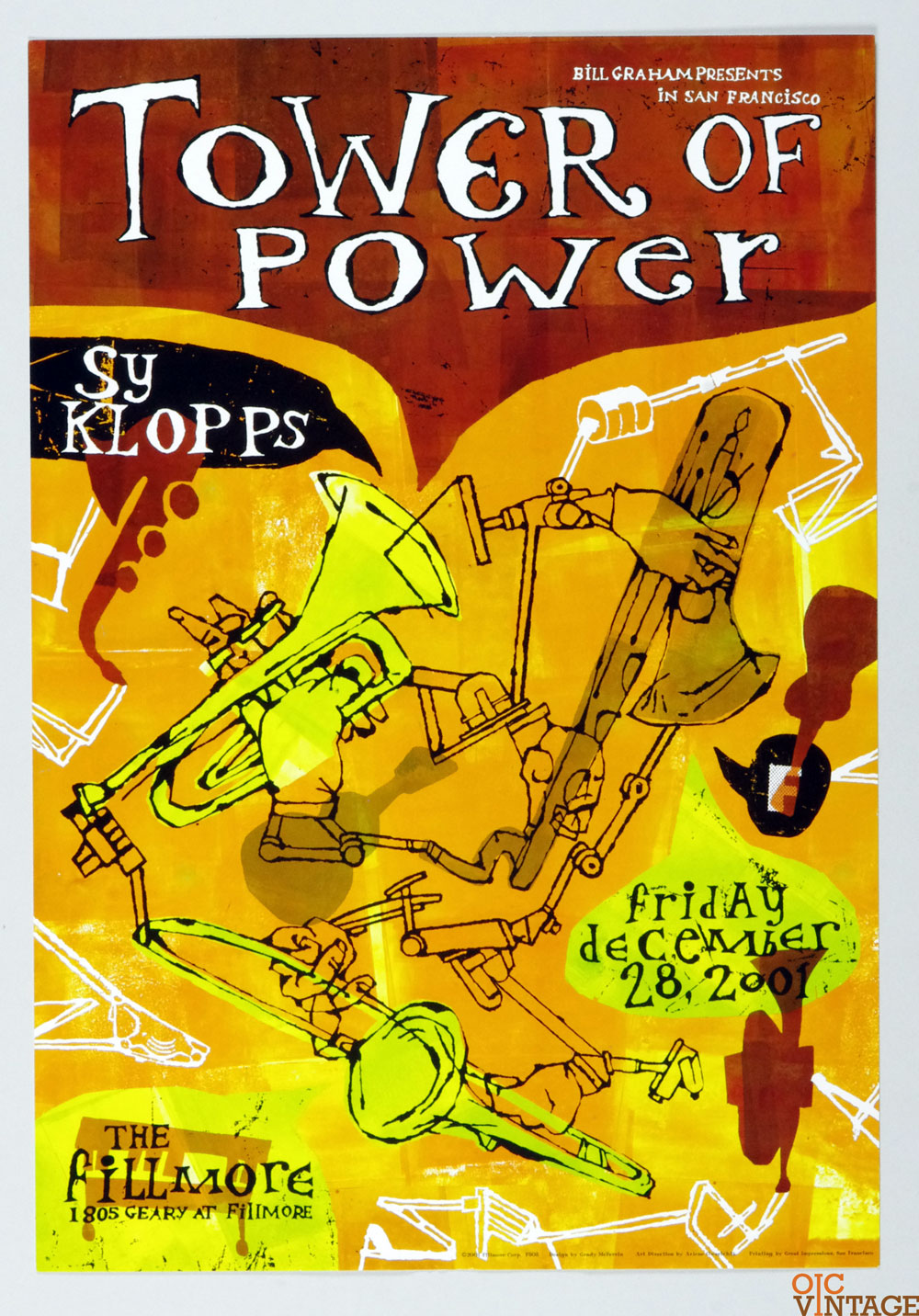 New Fillmore F503 Poster Tower of Power SY Klopps 2001 Dec 28