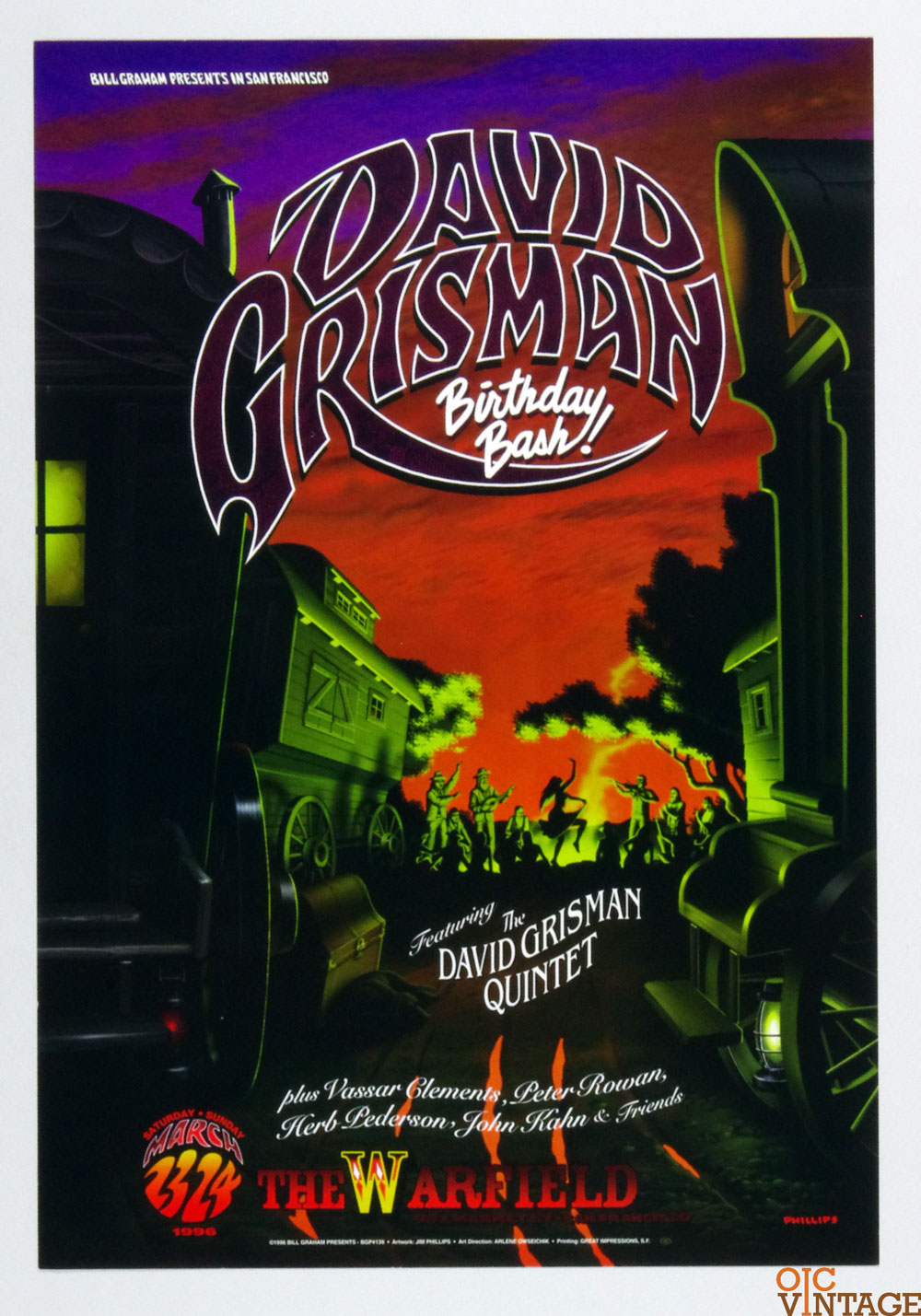 David Grisman Poster 1996 Mar 23 The Warfield Theatre San Francisco BGP 139