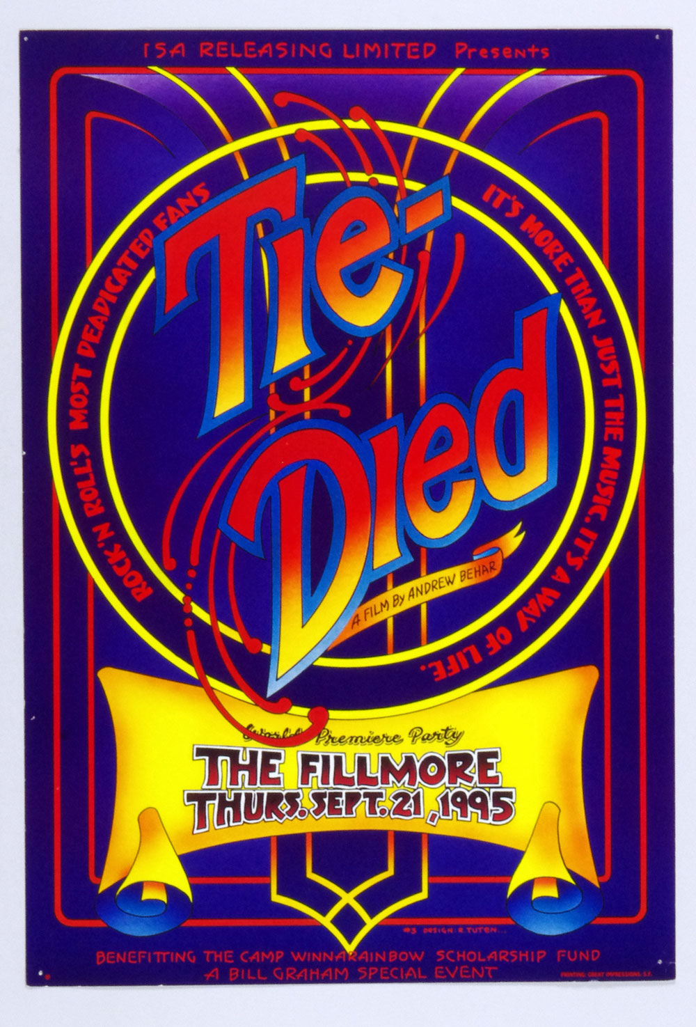 Bill Graham Presents Poster 1995 Sep 21 Tie Died World Premier Andrew Behar #3