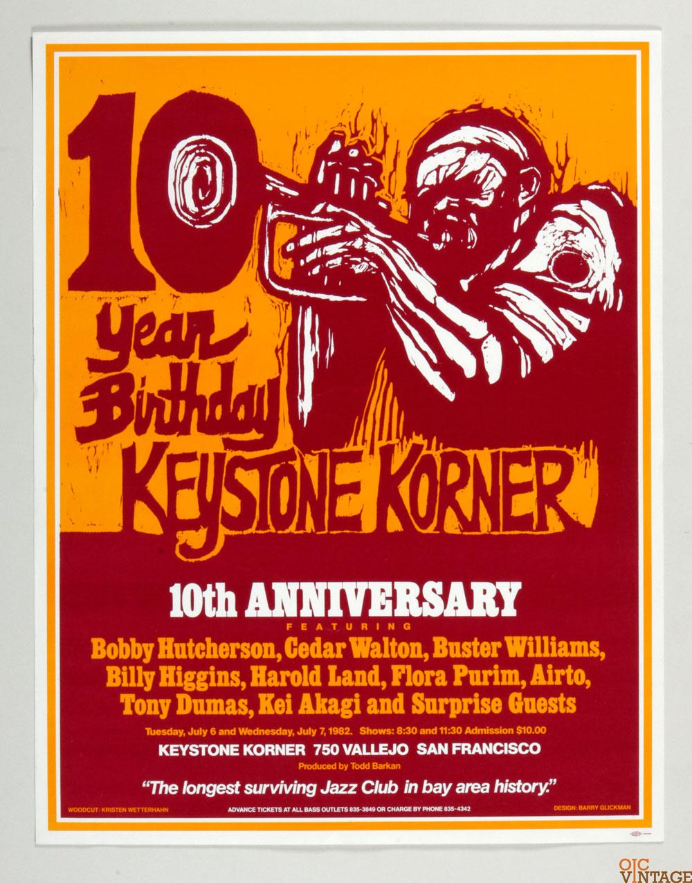 Kristen Wetterhahn Poster Woodcut Art 1982 10th Anniversary Keystone Korner SF