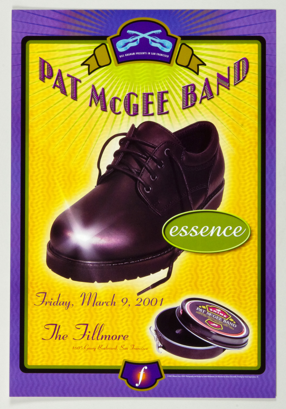 New Fillmore F441 Poster Pat McGee Band 2001 Mar 9