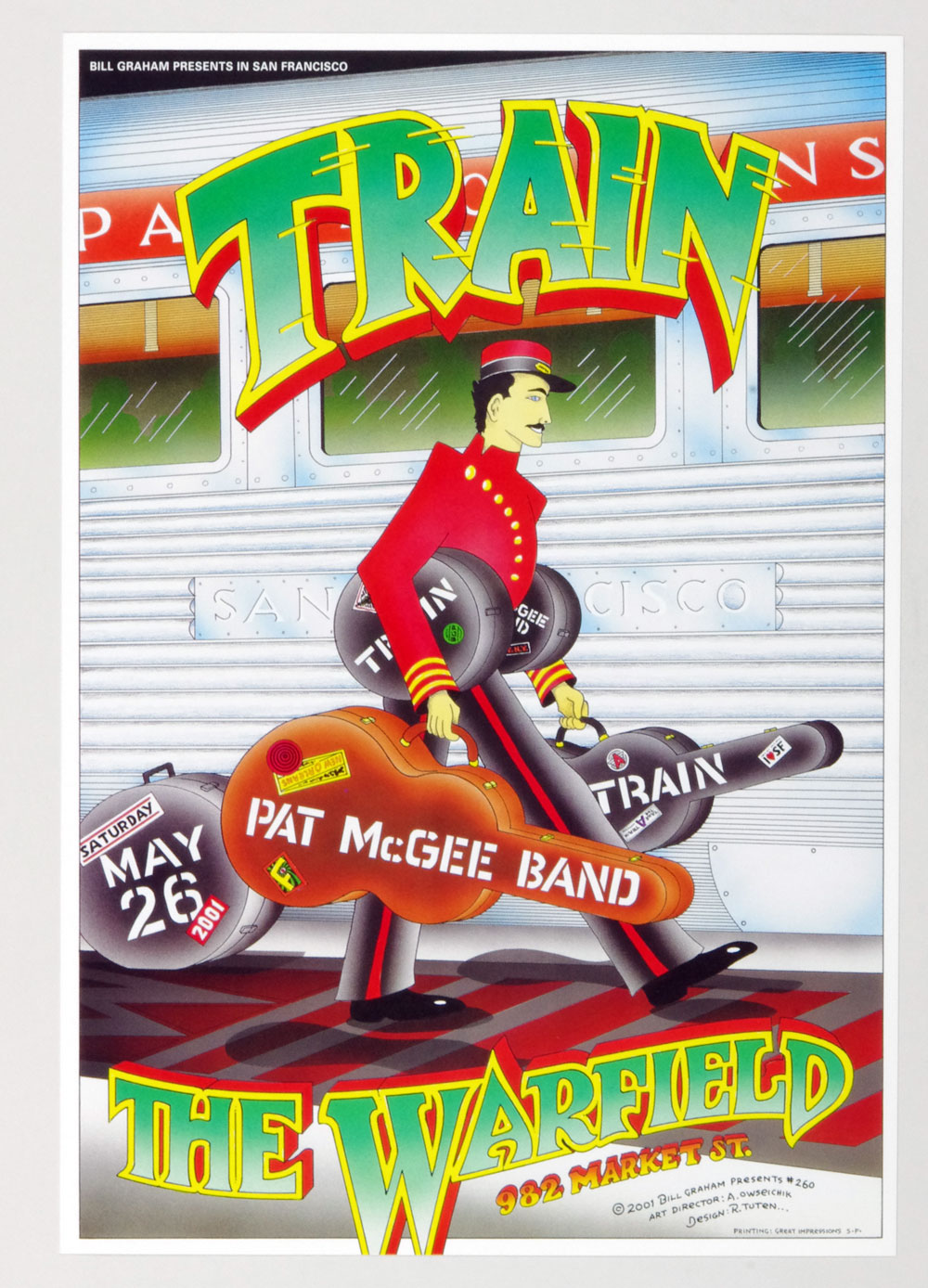 Bill Graham Presents Poster 2001 May 26 Train Pat McGee Band #260