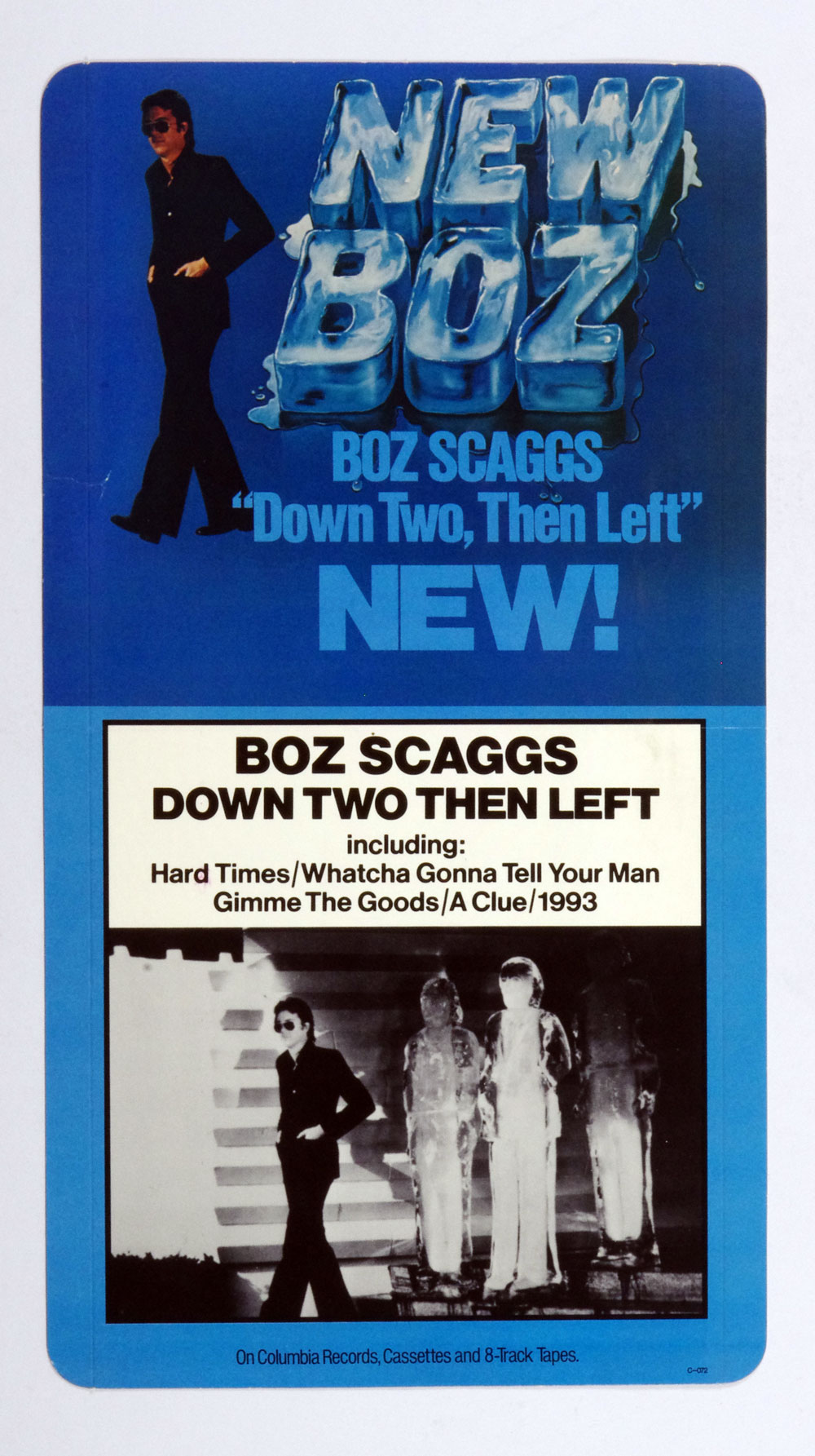 Boz Scaggs Poster Cardboard Down Two Then Left 1977 New Album Promo  12 x 22