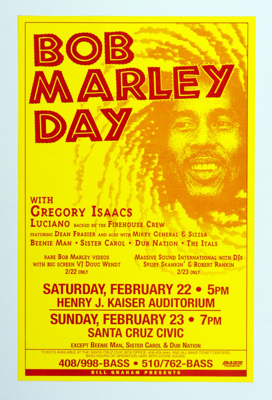 Bob Marley Celebration Day Gregory Isaacs Poster 1996 Feb 22 Oakland