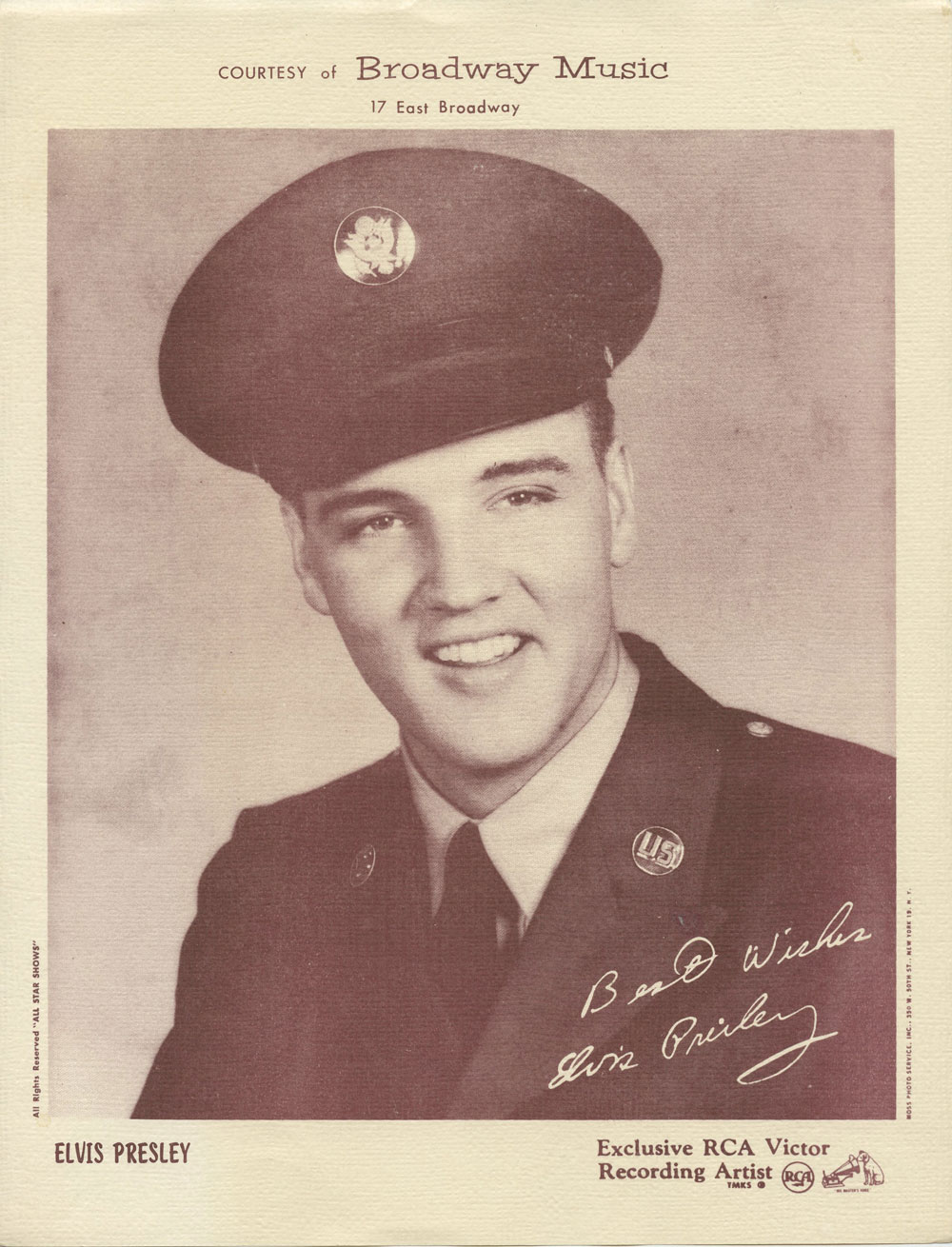Elvis Presley 1958 In The Army Portrait Photo RCA Victor Recording