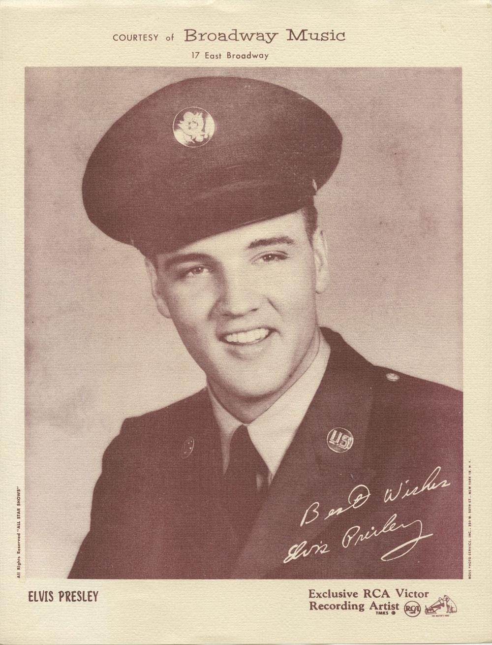 Elvis Presley 1958 In The Army Portrait Photo RCA Victor Recording