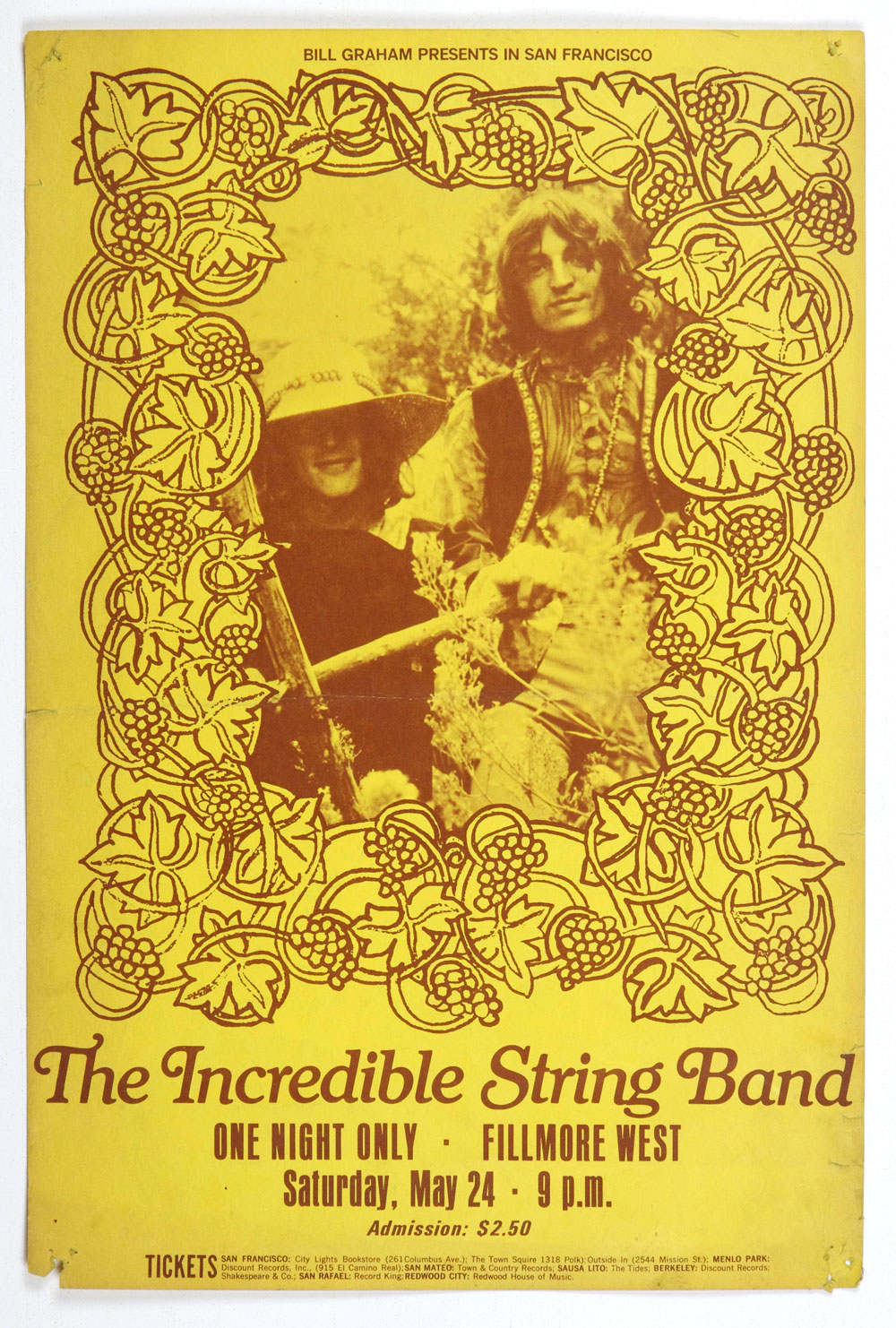 BIll Graham Presents Poster 1969 May 24 The Incredible String Band Fillmore West SF