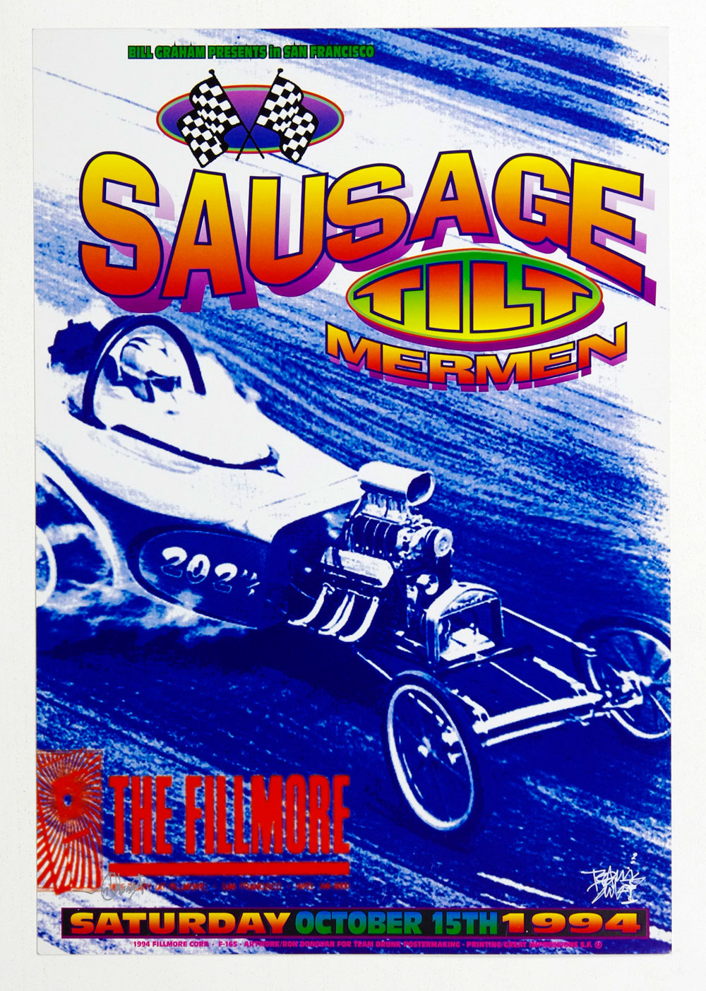 New Fillmore F165 Poster Rodonovan Signed Sausage 1994 Oct 15