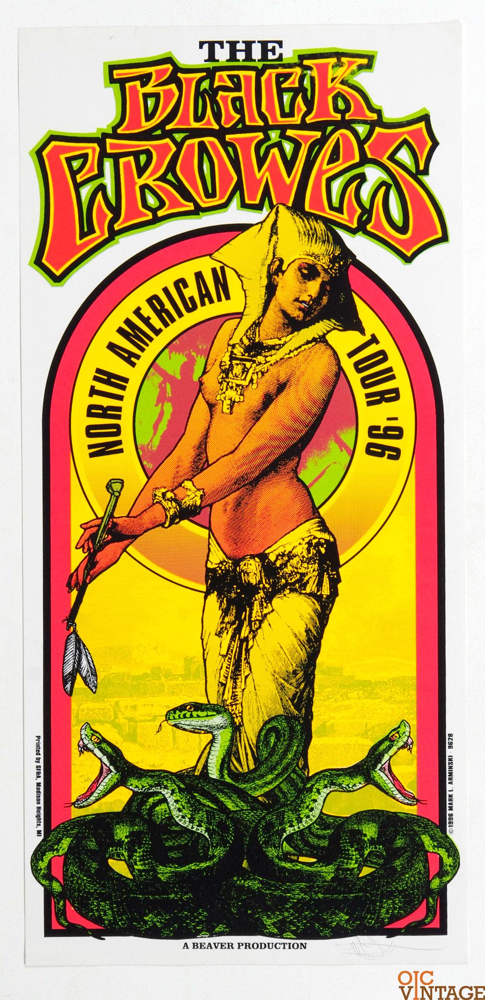 Black Crowes Poster 1996 North American Tour Mark Arminski signed