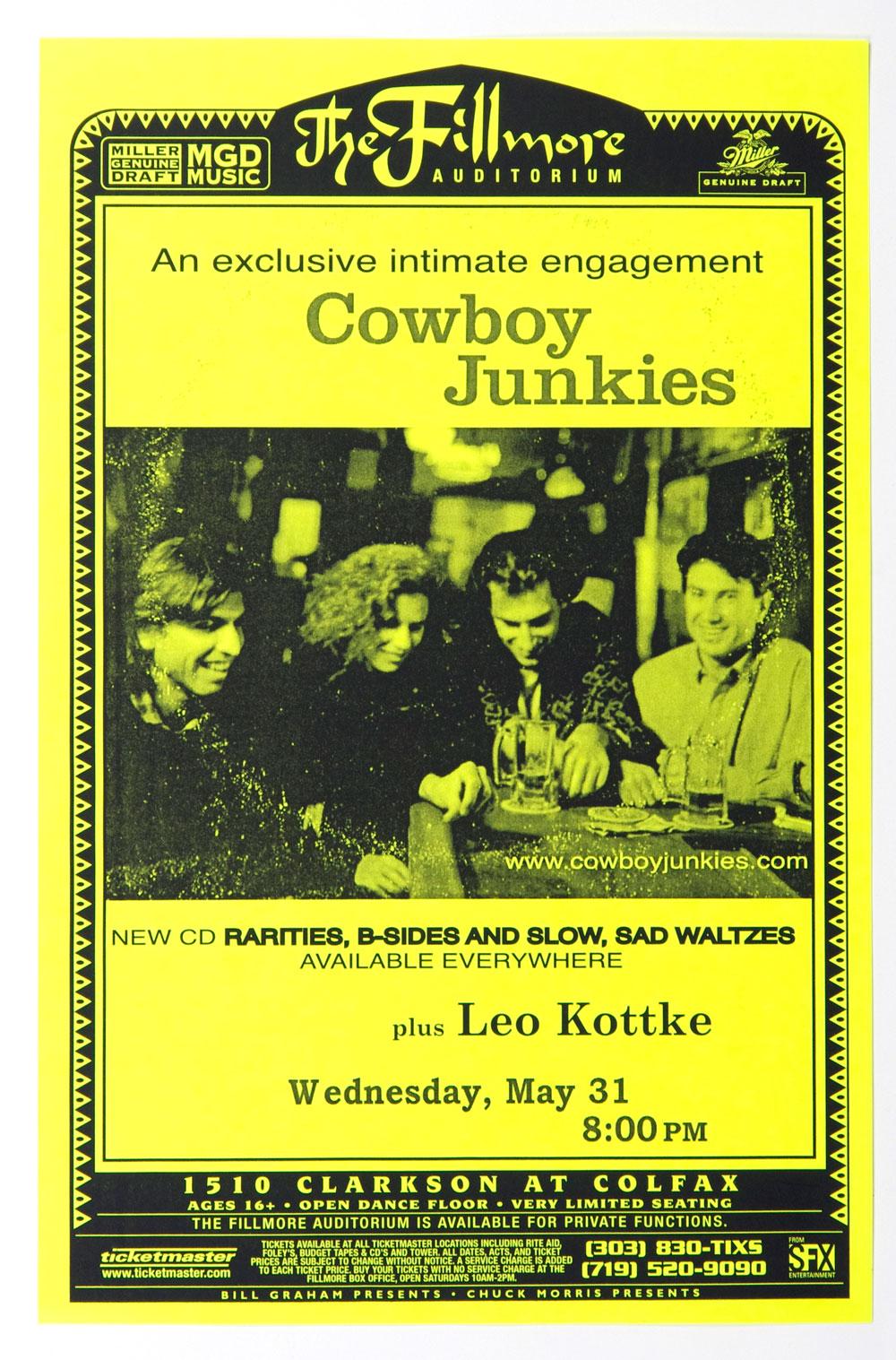 Cowboy Junkies Poster w/ Leo Kottke 1999 May 31 The Fillmore