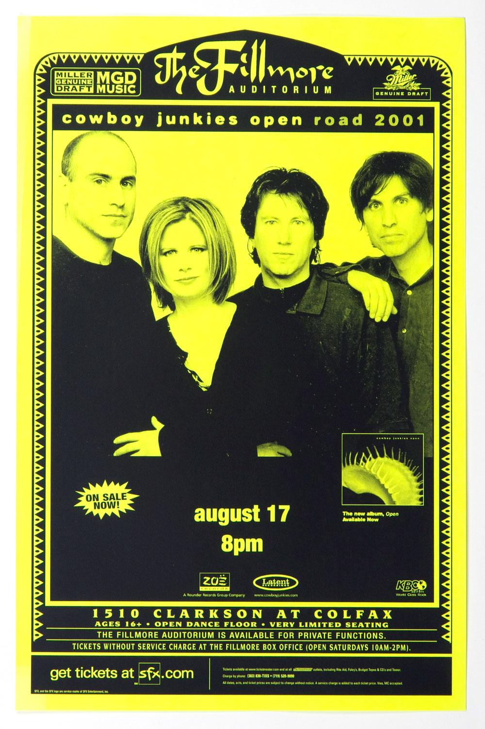 Cowboy Junkies Poster 2001 Aug 17 The Fillmore Denver