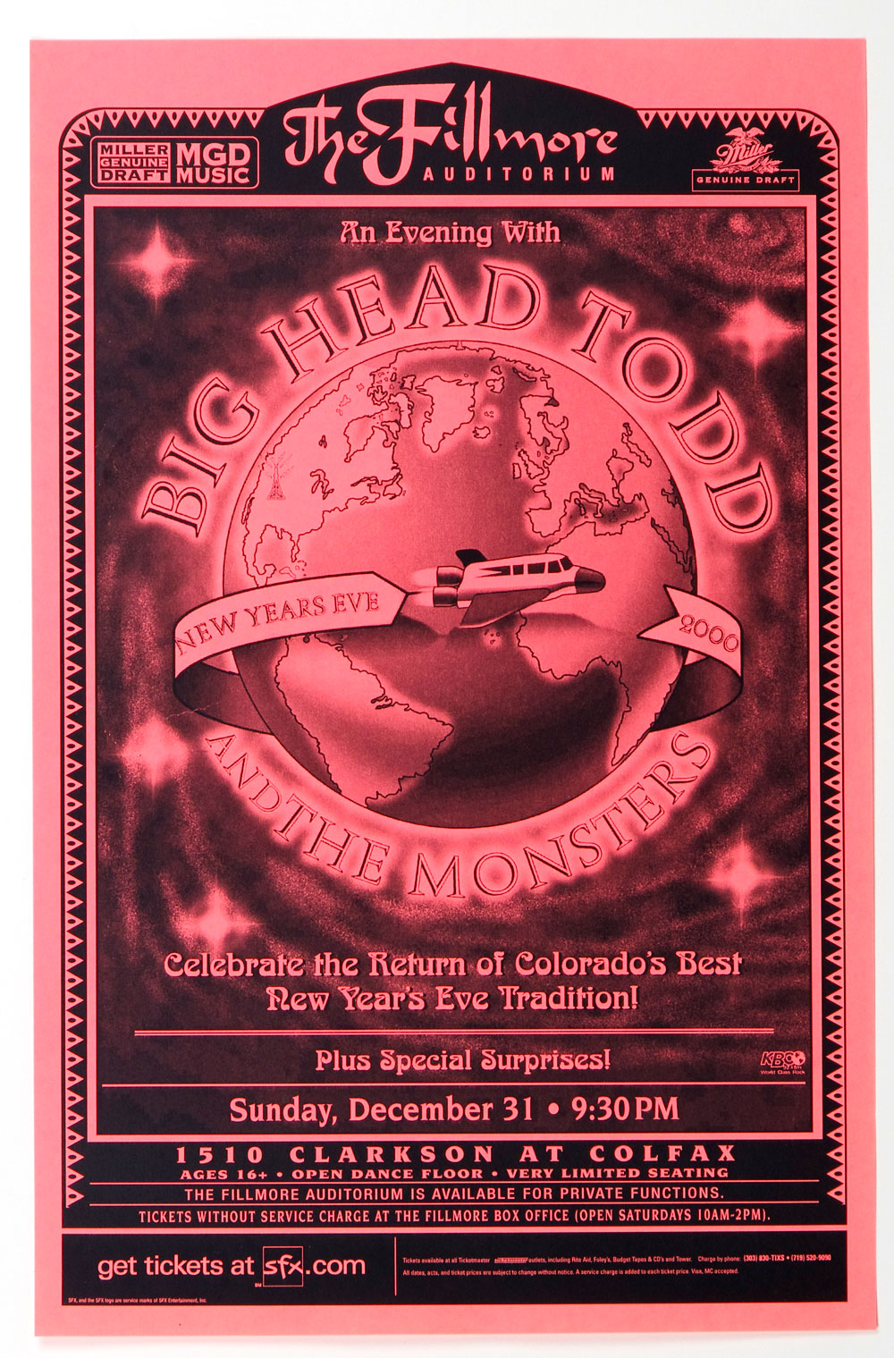 Big Head Todd and The Monster Poster 2000 Dec 31 The Fillmore Denver