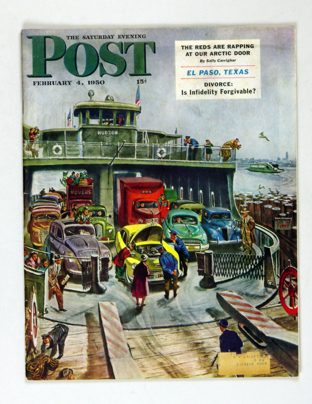 The Saturday Evening Post 1950 Feb 4 NY Car Ferry by Utz
