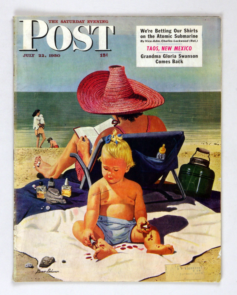 The Saturday Evening Post 1950 Jul 22 Baby on the Beach by Dohanos