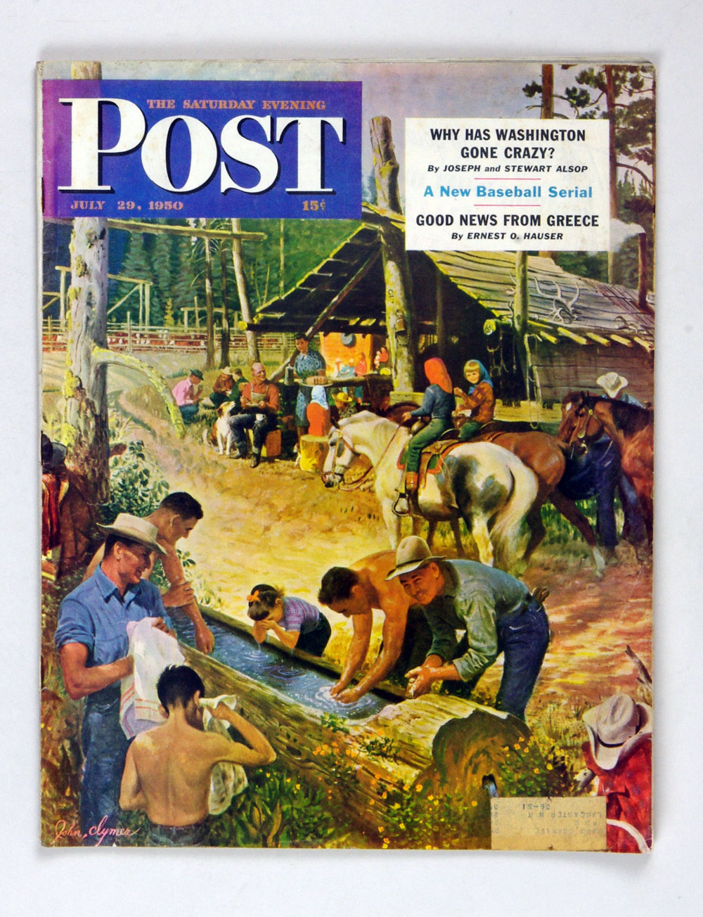 The Saturday Evening Post 1950 Jul 29 Washing Up Outdoors by John Clymer