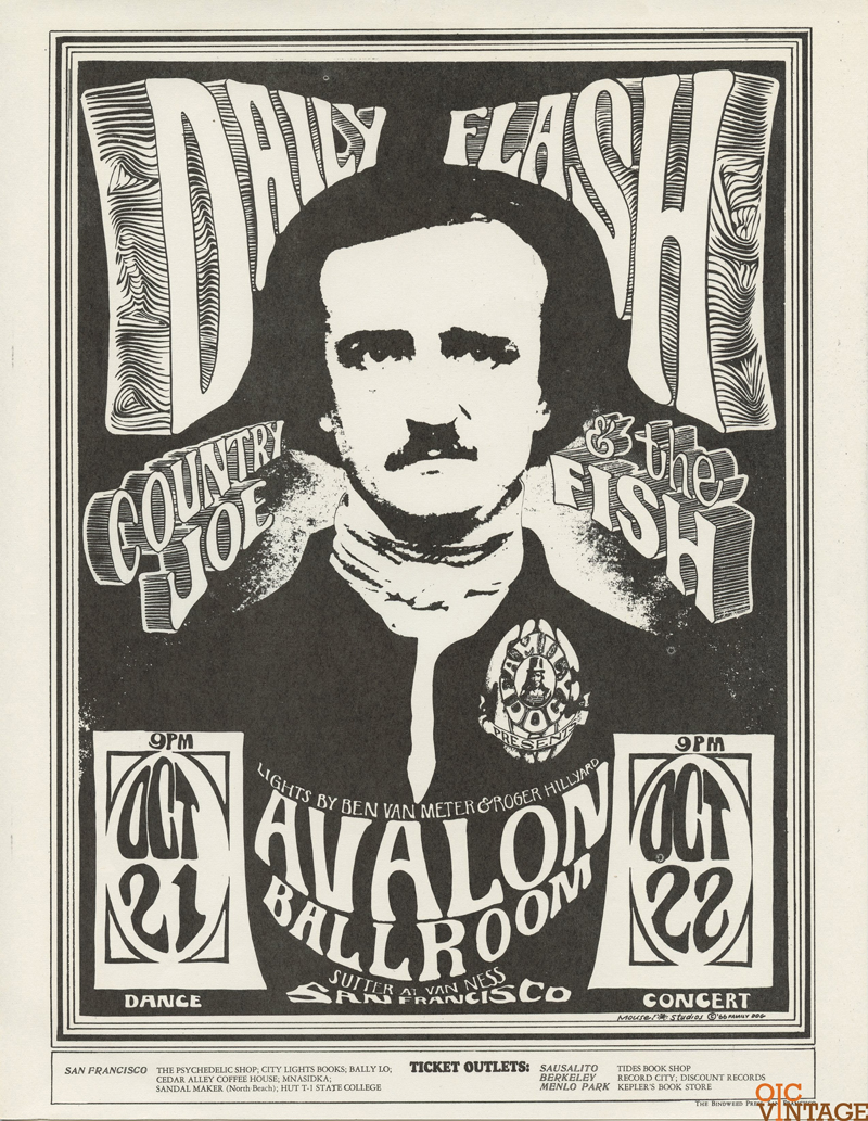 Family Dog 031 Handbill Edgar Allan Poe  1966 Oct 21 Country Joe and the Fish