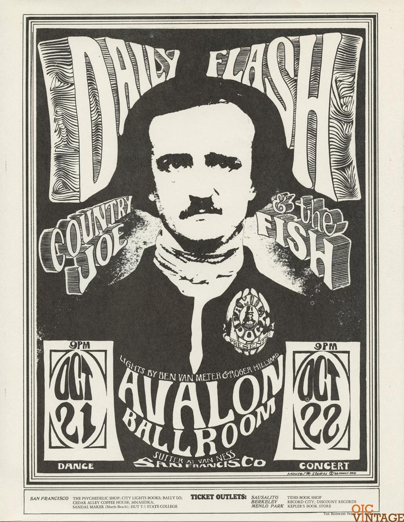 Family Dog 31 Handbill Edgar Allan Poe 1966 Oct 21 Country Joe and the Fish