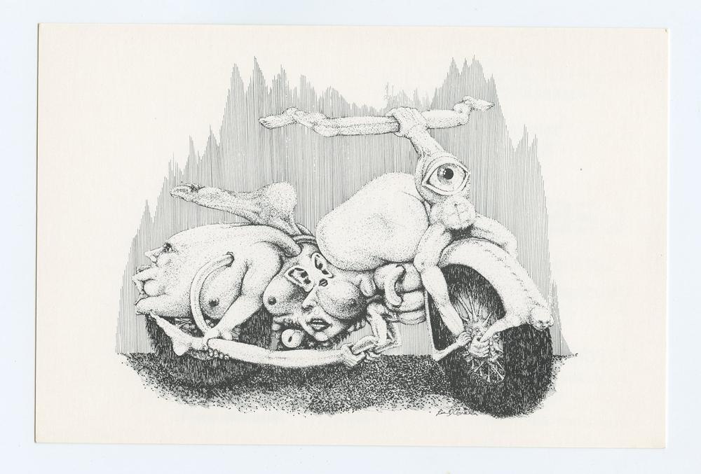 Lee Conklin Exhibition Postcard 1992 Oct 14 Psychedelic Bike