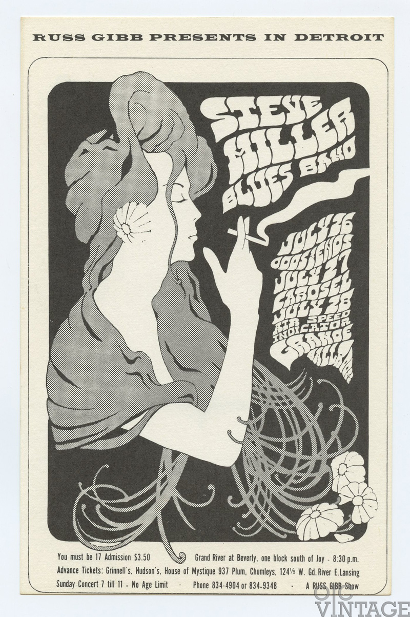 Grande Ballroom Postcard 1968 Jul 26 Steve Miller Band Odds and Ends