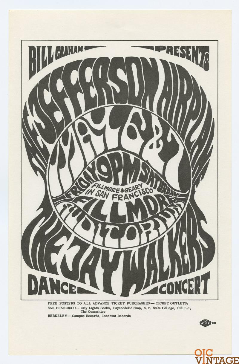 Bill Graham 5 Handbill Jefferson Airplane Jaywalker 1966 May 6