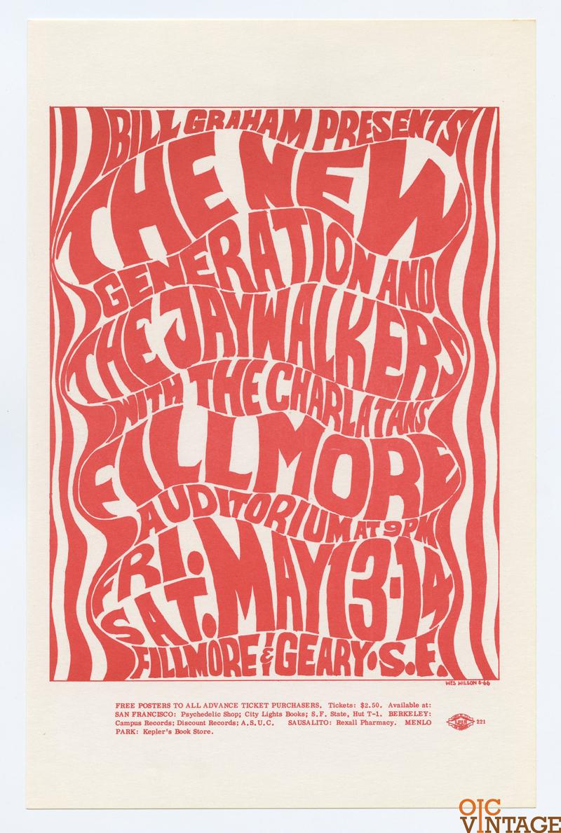 Bill Graham 006 Handbill New Generation Jay Walker Charlatans 1966 May 13