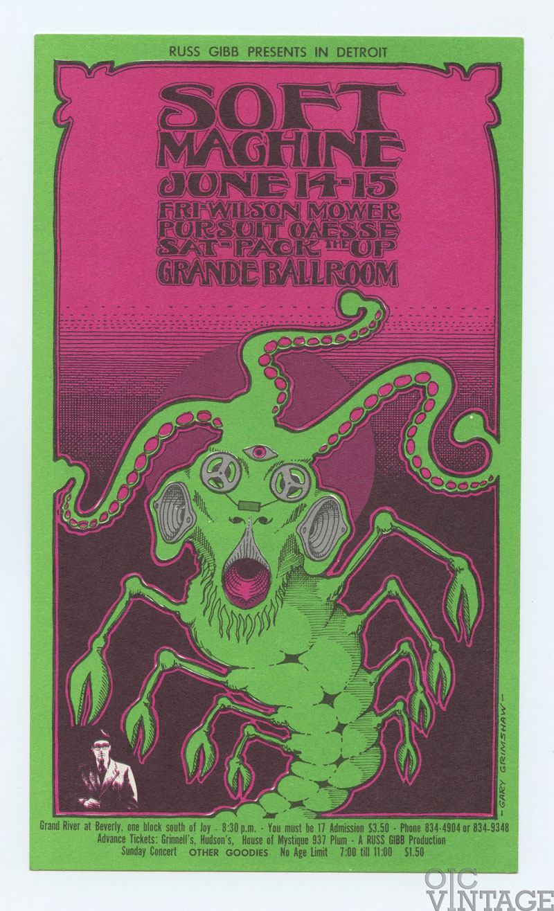 Grande Ballroom Postcard 1968 Jun 14 Postcard Soft Machine