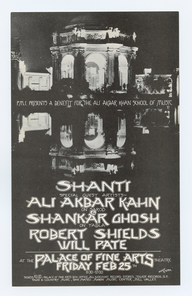 Ali Akbar Kahn Handbill 1972 Feb 25 Palace of Fine Arts San Francisco Randy Tuten