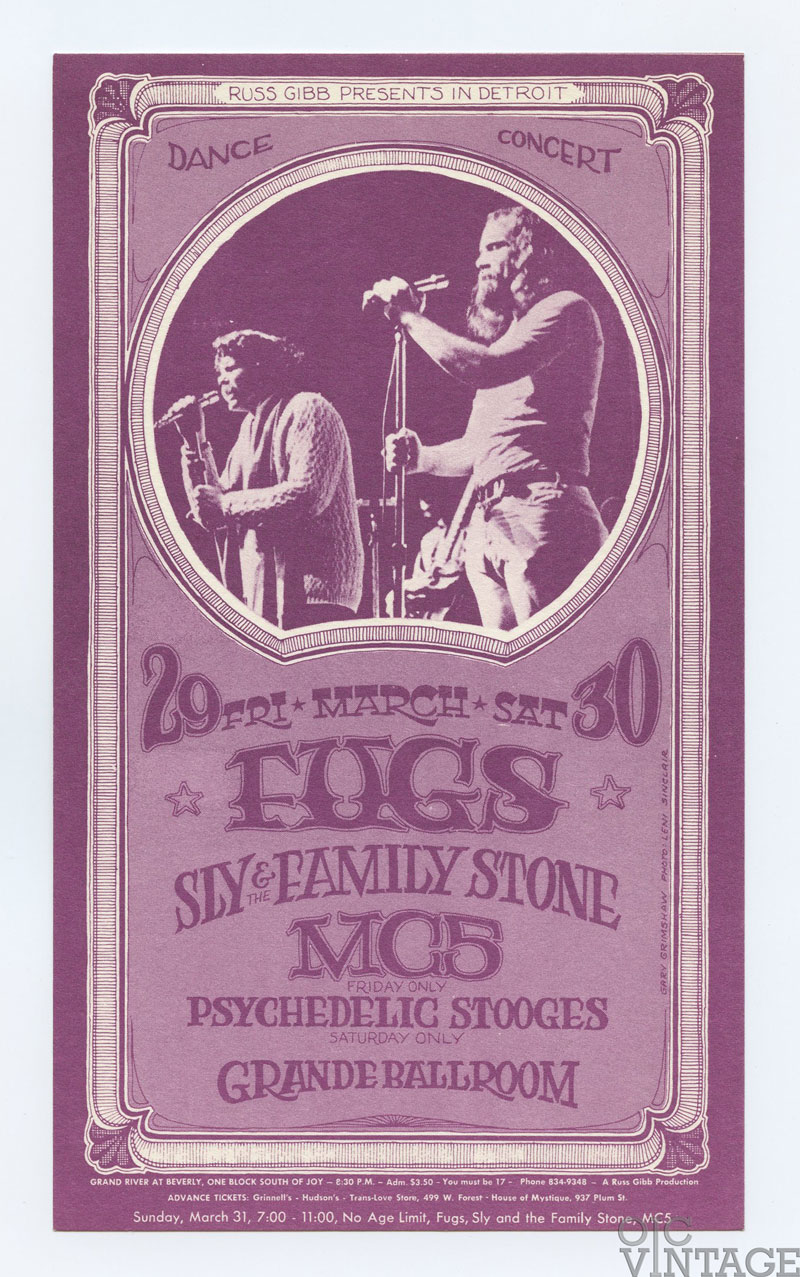 Grande Ballroom Postcard 1968 Mar 29 Fugs Sly & Family Stone MC5