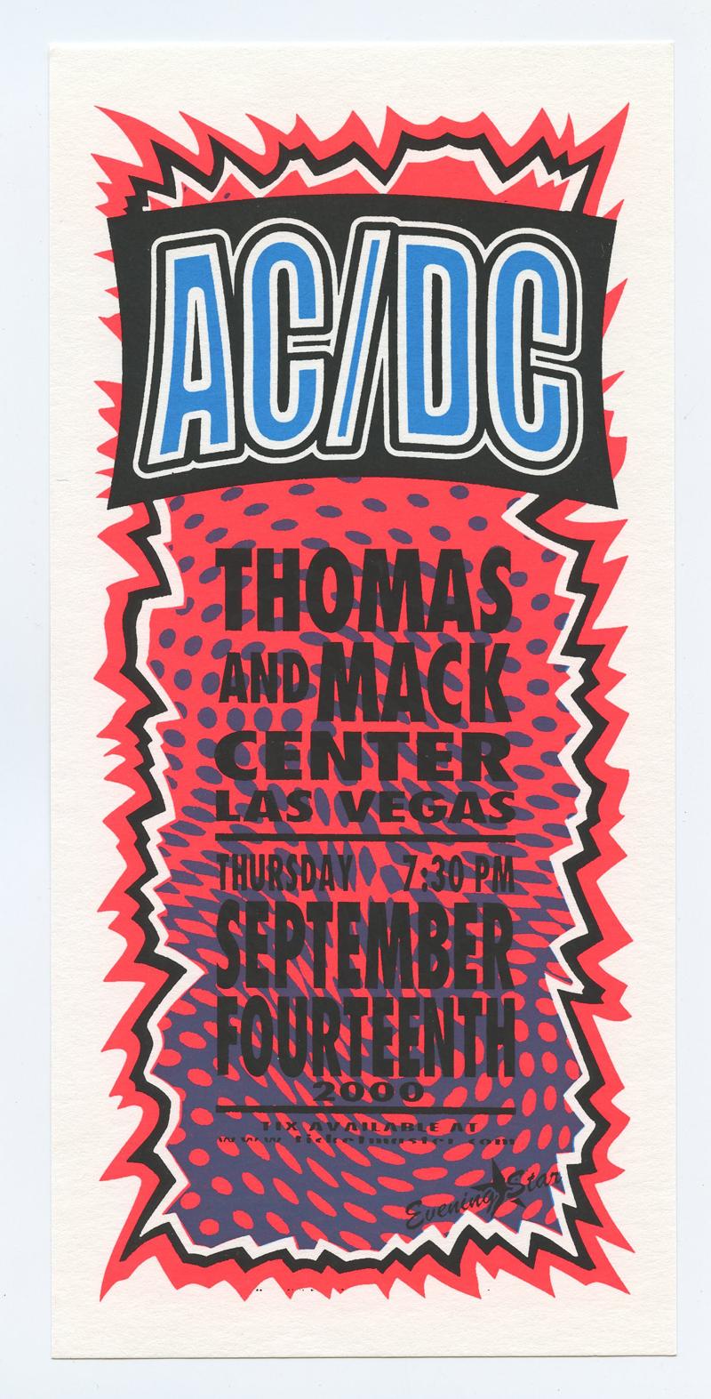 AC/DC Handbill 2000 Sep 4 Thomas and Mac Center Las Vegas Mark Arminski