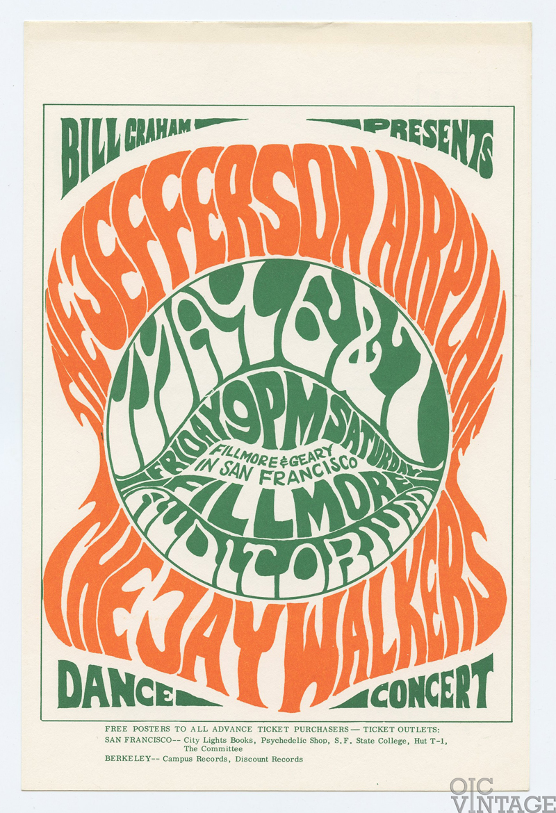 BG 5 Postcard Jefferson Airplane Jaywalker 1966 May 6