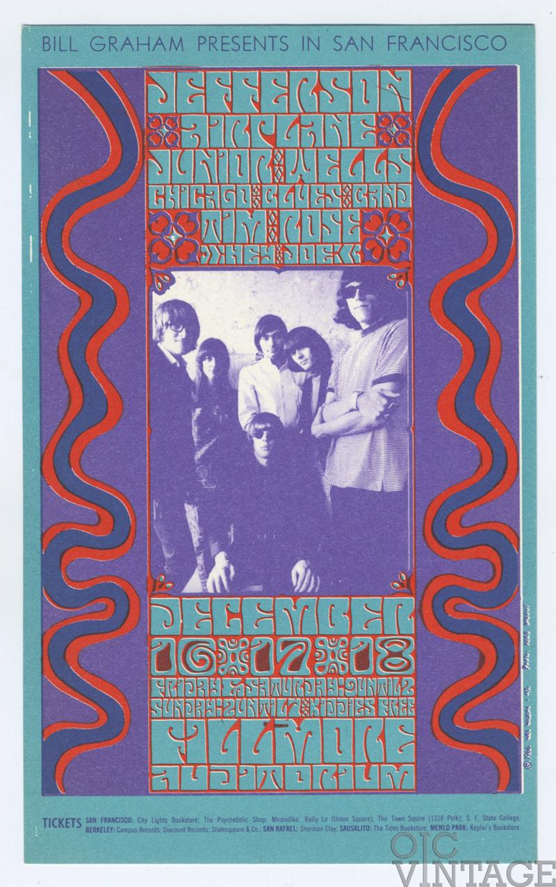 Bill Graham 042 Handbill Jefferson Airplane Junior Wells Chicago Blues Band Tim Rose 1966 Dec 16